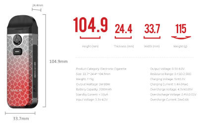 SMOK Nord 4 Measurements and Specifications